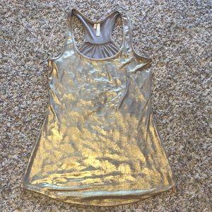Studio Y gold shimmer glitz racerback tank blouse